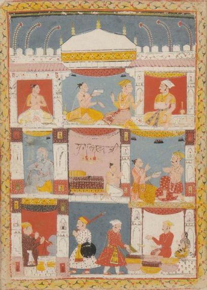 Scène de palais, Rajasthan, Malwa, vers 1630....