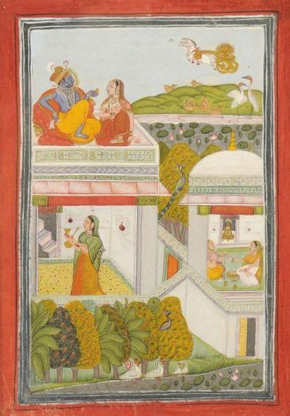 Krisna et Radha sur la terrasse d'un pavillon,...