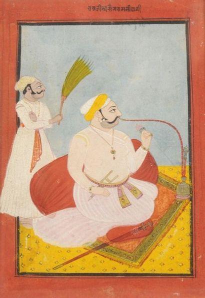 Raja fumant le huqqa, Rajasthan, Bundi, XIXe...