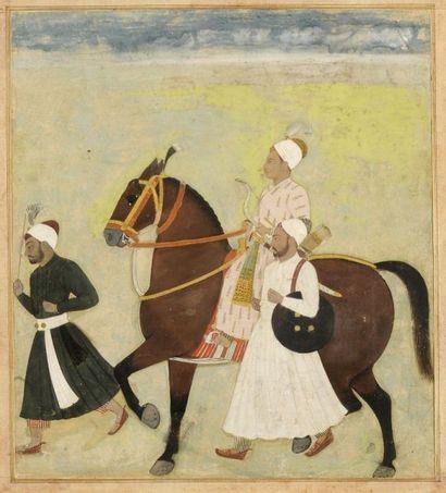 Portrait équestre d'un dignitaire moghol,...