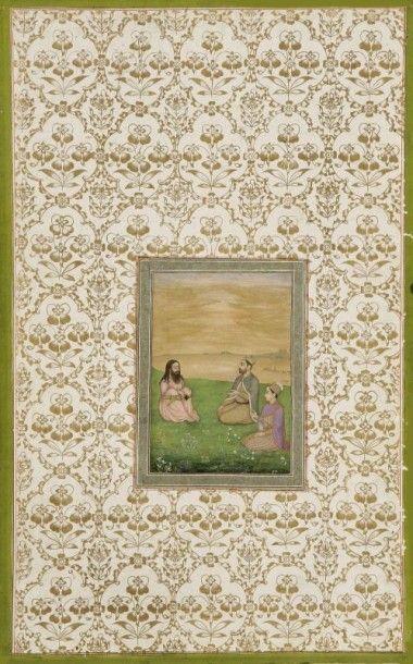 Page provenant de l'album dit Ardeshir, Inde moghole, milieu XVIIe siècle Dim: miniature...