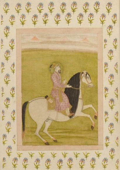 Portrait équestre de l'empereur Aurengzeb,...