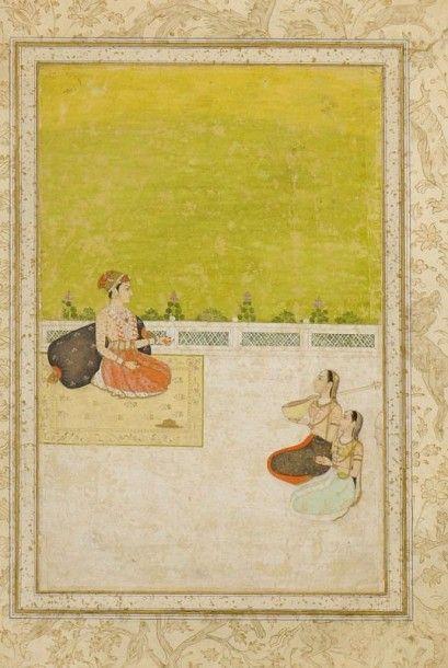 Princesse écoutant une musicienne, Inde moghole,...