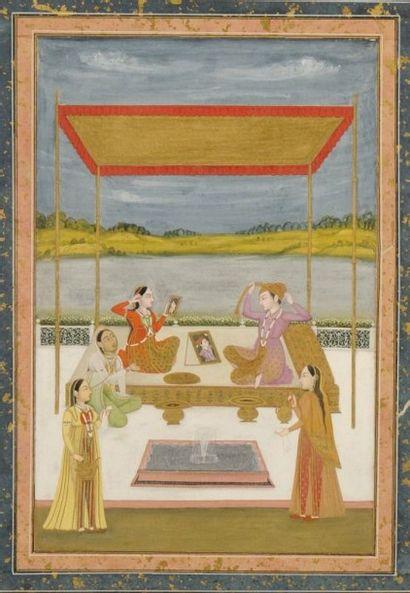 Grande page d'album moghol, fin XVIIIe siècle...