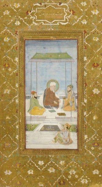 Soufi conversant avec un prince sous un dais,...