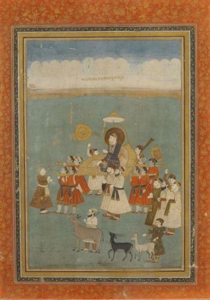L'empereur Aurengzeb sur un palanquin, entouré...