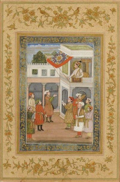 Scène de cour, Darbar, Inde moghole, Delhi,...