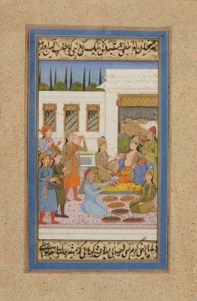 Réception sur la terrasse d'un palais, Inde...