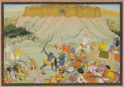 Combat entre Rama, Lakshmana et l'armée des...