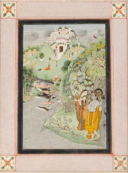 Krishna et Radha dans un paysage, attribué...