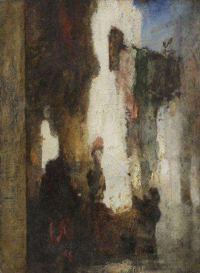Anatole Henri de BEAULIEU (1819-1884) (Attribué à) Rue à Constantinople Huile sur...