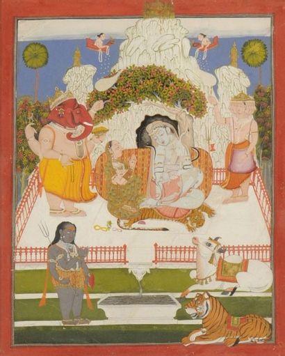 Civa et sa famille sur le mont Kailasa, Rajasthan,...