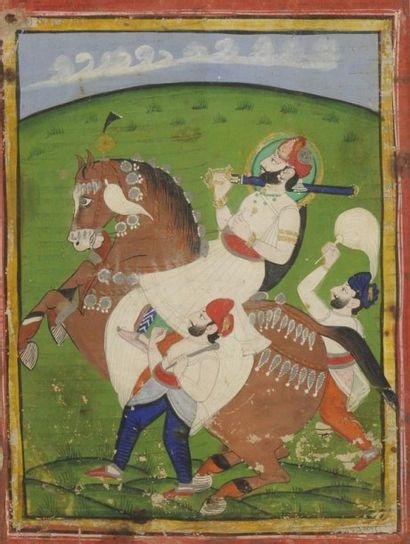 Raja auréolé sur un cheval cabré, Rajasthan,...