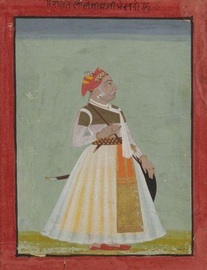 Portrait du raja Lal Singh, Inde, Rajasthan,...