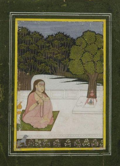 Ascète tenant un mâlâ, Inde, fin du XIXe...