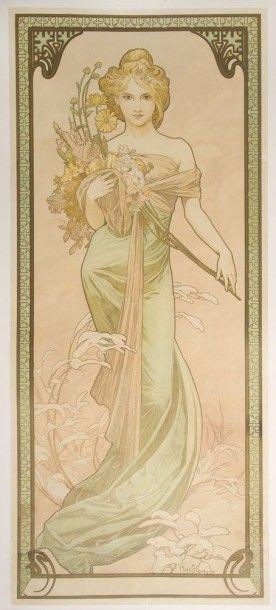 Alphonse MUCHA (1860-1939) Alfons Maria MUCHA dit Le Printemps, de la série des Saisons...