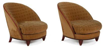 TRAVAIL ART DÉCO dans le goût de Maurice DUFRÊNE (1876-1955) Paire de fauteuils de...