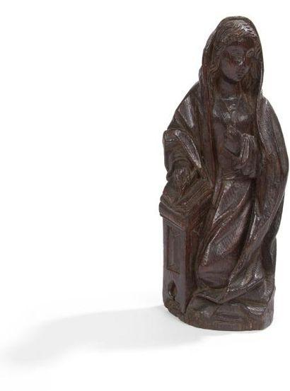 Vierge de l'Annonciation en chêne sculpté...