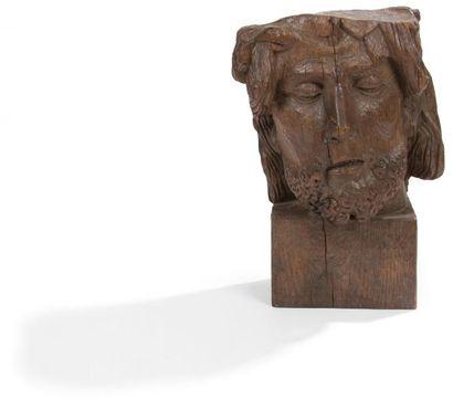 Tête de Christ en chêne sculpté. Copie d'un...