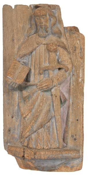 Panneau en chêne sculpté en fort relief représentant...