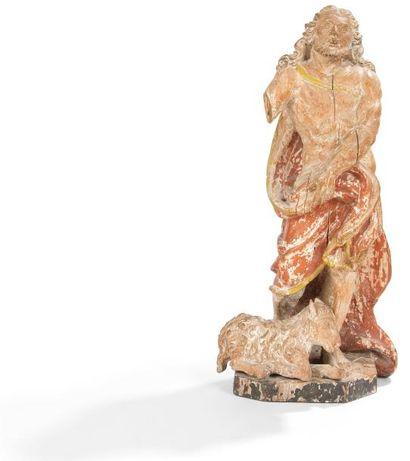 Saint Jean Baptiste en bois sculpté en ronde-bosse...