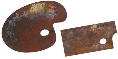 Deux palettes de peintre en noyer, ayant...