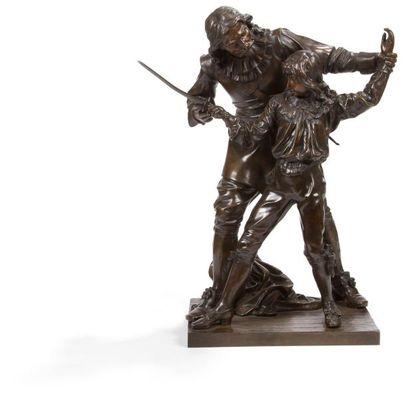 La Leçon d'escrime. Sculpture en bronze à...