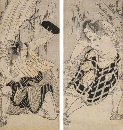 Shunei: Deux hosoban, acteurs debout. Couleurs...