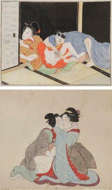 Ensemble de huit feuilles shunga d?un rouleau...
