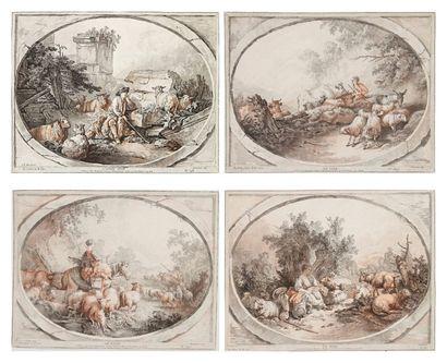 Gilles DEMARTEAU L'AINE (1722-1776) Le Matin; Le Midi; L'Après-midi; Le Soir. Gravure...