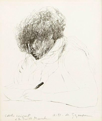 André DUNOYER DE SEGONZAC (1884-1974) Colette écrivant à la Treille Muscate. Pointe...