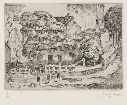 Ernest Laborde (1870-???) La Maison de Mimi Pinson à Montmartre. 1921. Eau-forte....