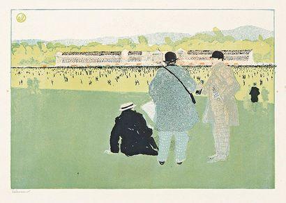 Jean-Emile LABOUREUR (1877-1943) Longchamp. 1902. Lithographie. 325 x 232. Laboureur...
