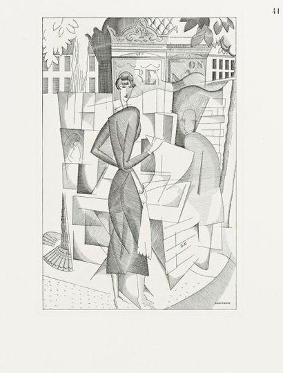 Jean-Emile LABOUREUR (1877-1943) Le Kiosque à journaux. 1920. Burin. 205 x 297. Laboureur...