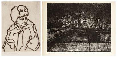 Henri Landier (né en 1935) Pantomime; Pierrette. 1959-1960. Eau-forte. 410 x 337...
