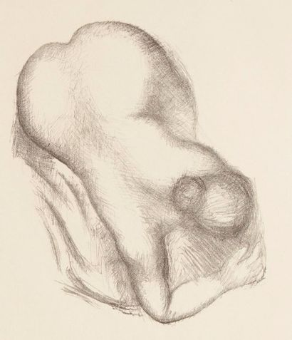 Aristide MAILLOL (1861-1944) Femme nue penchée en avant. Lithographie. 220 x 190....