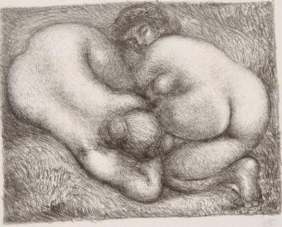 Aristide MAILLOL (1861-1944) Deux femmes dans l'herbe. Vers 1928-1930. Lithographie....