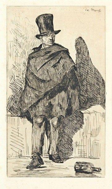 Edouard MANET (1832-1883) Le Buveur d'absinthe. 1861-1862. Eau-forte. 160 x 290....