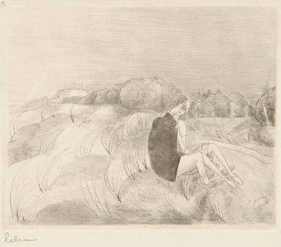 Jean-Emile LABOUREUR (1877-1943) Dans les dunes. 1927. Eau-forte et roulette. 120...