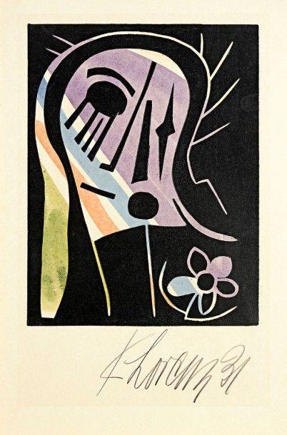 Karl Lorenz (allemand, 1888-1961) Figure et fleur. 1931. Bois gravé. 238 x 317. Impression...