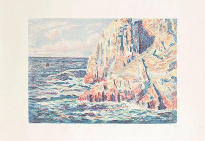 Maximilien Luce (1858-1941) Les Rochers rouges, ou La Mer à Camaret. 1895. Lithographie....