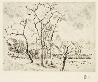 Camille PISSARRO (1830-1903) Église d'Osny, près Pontoise. 1885. Pointe sèche et...