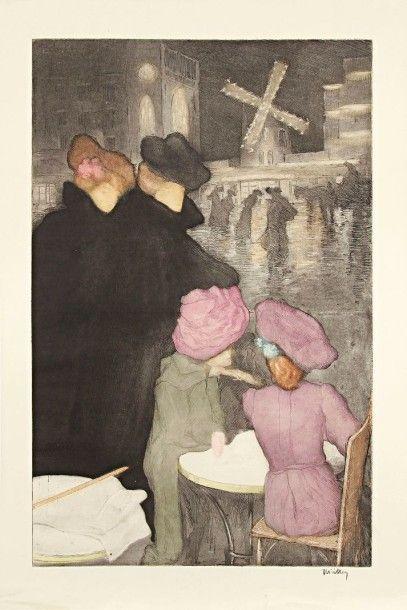 Alfredo MÜLLER (1869-1940) Place Blanche (quatre femmes), ou Le Moulin Rouge (effet...