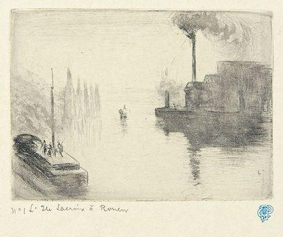 Camille PISSARRO (1830-1903) L'Île Lacroix à Rouen. 1887. Pointe sèche et aquatinte....