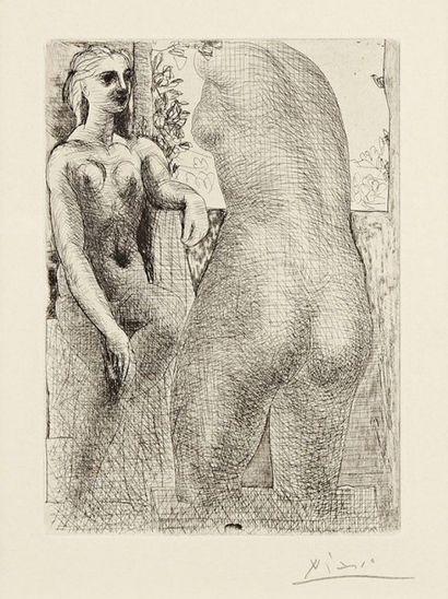 Pablo Picasso (1881-1973) Modèle et grande sculpture de dos (Suite Vollard, pl. 73)....