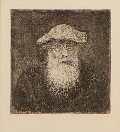 Camille PISSARRO (1830-1903) Camille Pissarro, par lui-même. Vers 1890. Eau-forte...