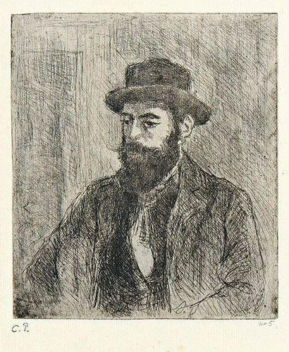 Camille PISSARRO (1830-1903) Portrait de Lucien Pissarro. 1890. Eau-forte sur zinc....