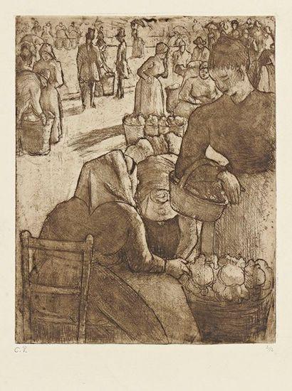 Camille PISSARRO (1830-1903) Marché aux légumes, à Pontoise. 1891. Eau-forte, aquatinte...
