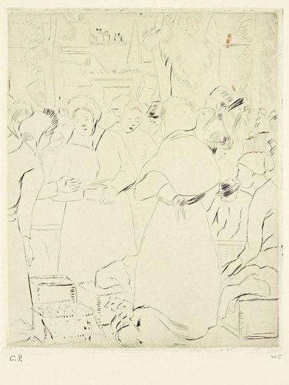Camille PISSARRO (1830-1903) Marché aux oeufs. 1902. Eau-forte. 220 x 267. Delteil...