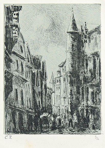 Camille PISSARRO (1830-1903) Rue Saint-Romain, à Rouen (4e pl.) 1896. Lithographie....